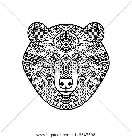 Zentangle bear head