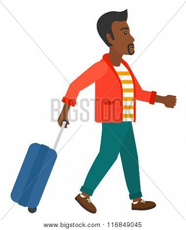Man walking with suitcase.