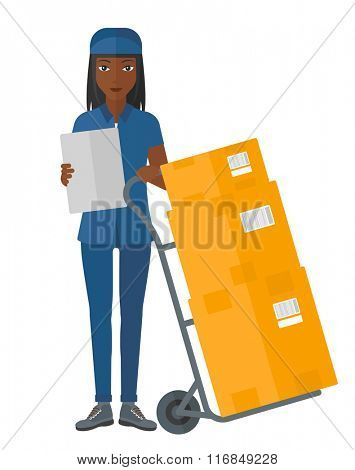 Woman delivering boxes.