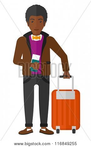 Man standing with suitcase and holding ticket.