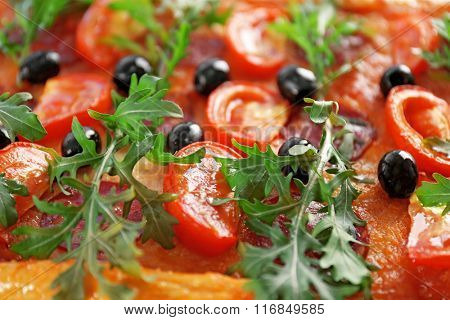 Background of delicious pizza, close-up