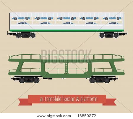 The Flat Illustration Railcars