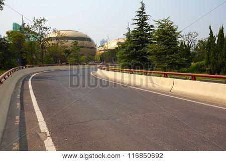 Asphalt Pavement Curve City Road