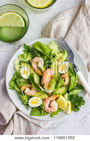 Fresh Avocado And Shrimps Salad,