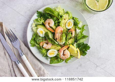 Fresh Avocado And Shrimps Salad