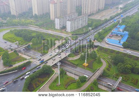 Aerial View Of City Overpass