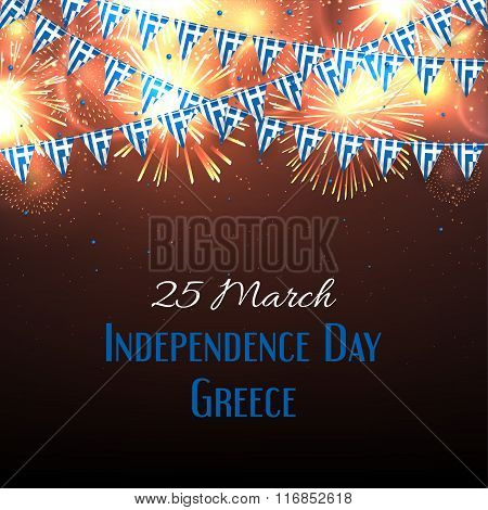 Background with fireworks and with a garland from Greece flags