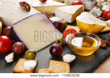 Different kinds of cheese closeup