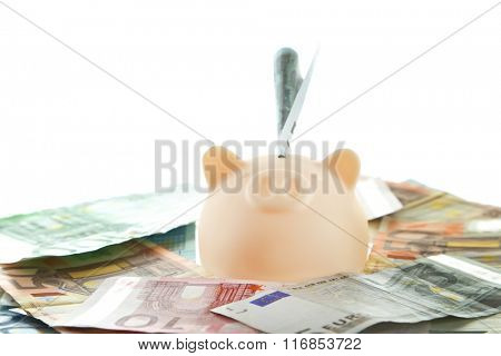 Piggy bank on pile of euro isolated on white
