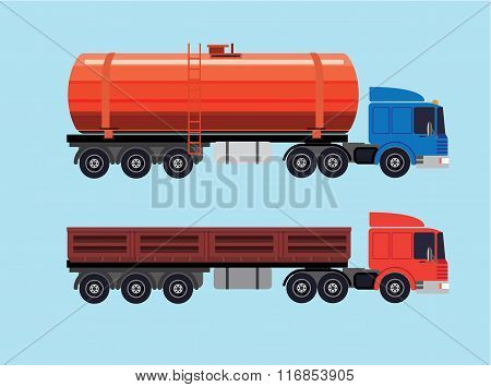 Flat Illustration Of Trucks