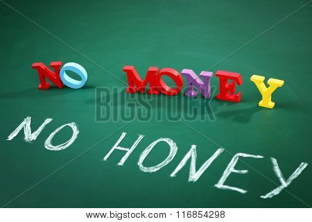 No money no honey concept on a blackboard background