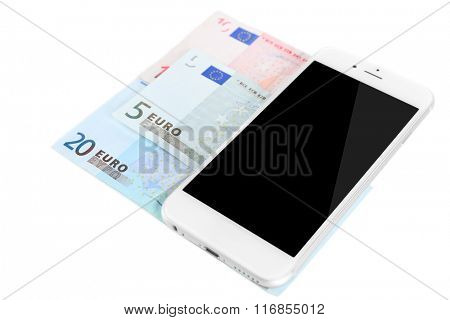 Smart phone with euro banknotes, isolated on white. Internet earning concept