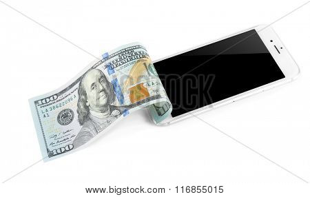 Smart phone with dollar banknote, isolated on white. Telephone charges