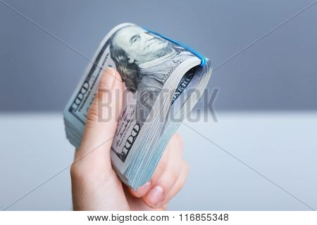Hand holds money on grey background, close up
