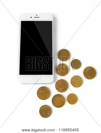 Smart phone with coins, isolated on white. Telephone charges