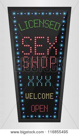 Shining retro light banner Licensed Sex Shop