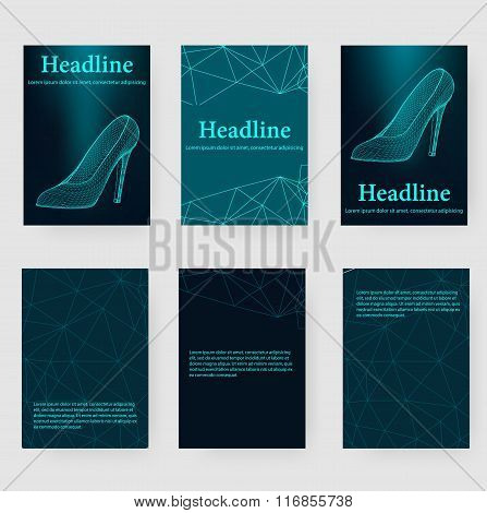 Abstract Creative concept vector background of the shoes. Polygonal design style letterhead and broc