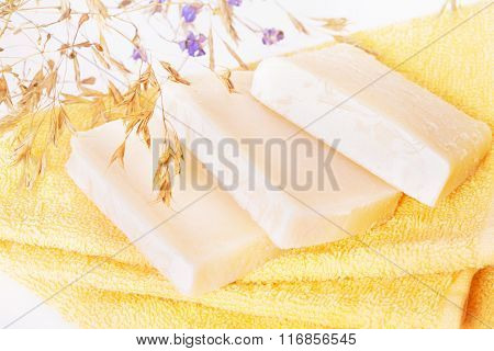 Homemade Soap On A Yellow Towel