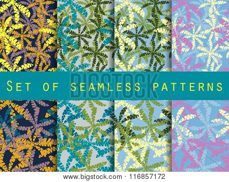 Palm Trees, Leaves Of Palm Tree. Set Of Seamless Patterns. The Pattern For Wallpaper, Bed Linen, Til