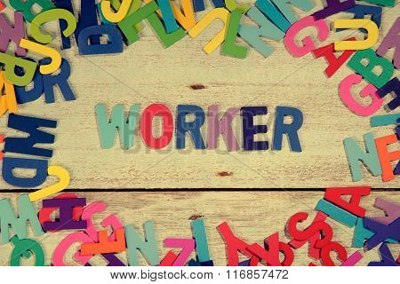 Worker Word Block Concept Photo On Plank Wood