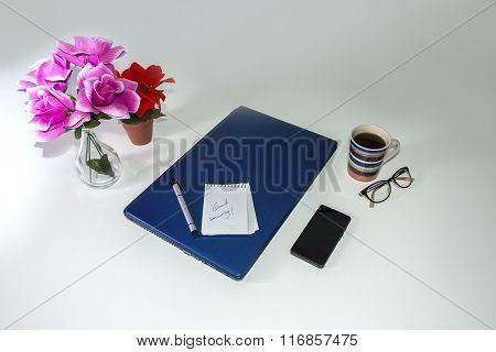 Desk-business Still Life Over White Background