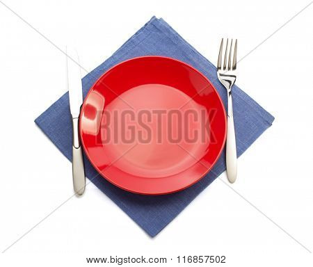 cloth napkin and plate isolated on white background