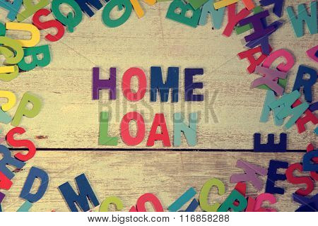 Home Loan Word Block Concept Photo On Plank Wood
