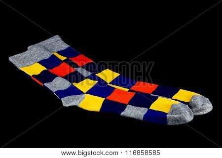 Brightly Coloured Socks On Black Background