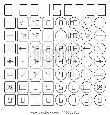 Set Of Mathematical Symbols, Vector Illustration.
