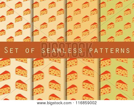 Seamless Pattern With Cheese. Cheese With Holes. Set. The Pattern For Wallpaper, Tiles, Fabrics, Bac