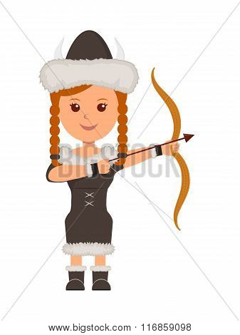 Viking. A girl in costume a viking with a bow and arrow aiming. Isolated character viking on the whi