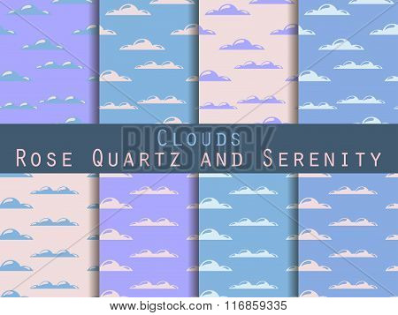 Clouds. Set Of Seamless Patterns. Rose Quartz And Serenity Violet Colour. The Pattern For Wallpaper,
