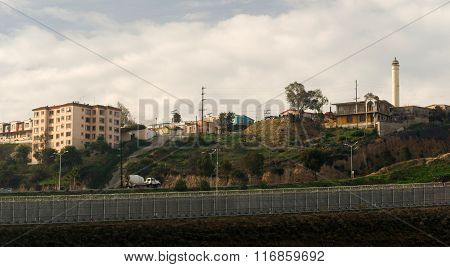 Tijuana Mexico Looking Across Barbed Wire Boundary San Diego California