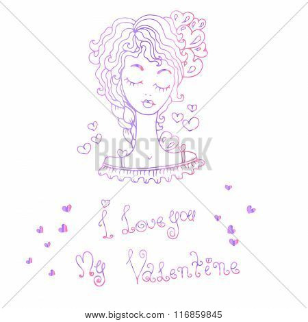 Vector illustration girl with heart , hand drawn greeting card Valentine's Day