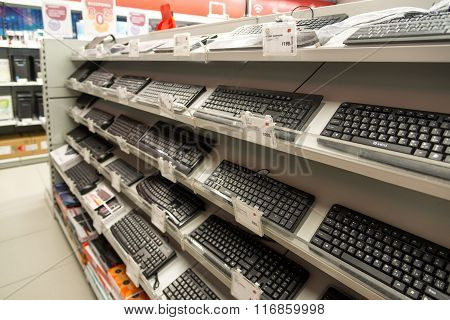Moscow Russia - February 02. 2016. Computer keyboard in Eldorado is large chain stores selling electronics