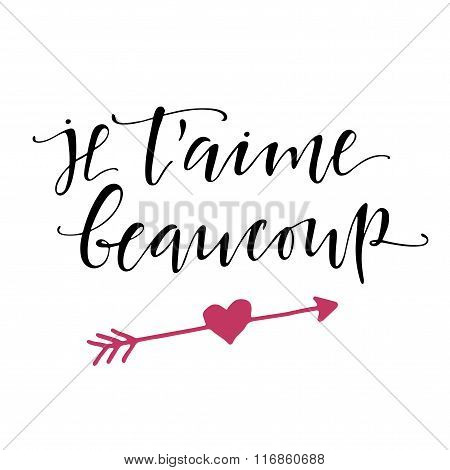 French I Love You Lettering Poster.