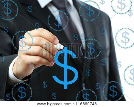 Businessman writing on screen with virtual background