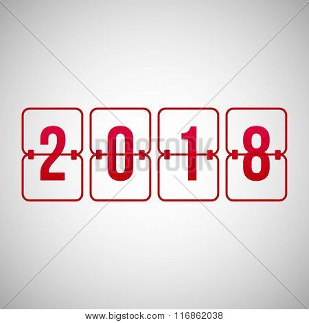 Vector Scoreboard 2018 Year Red Flip Symbol Isolated