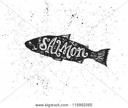 Salmon Lettering In Silhouette.