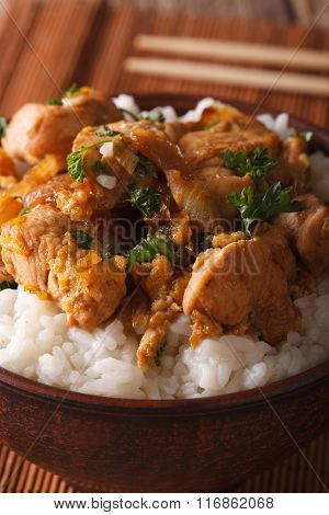 Japanese Food: Oyakodon With A Rice In A Bowl Macro. Vertical