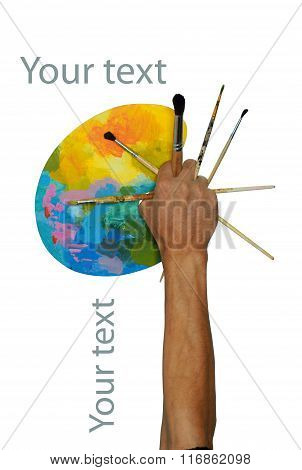 The Hand Raised Up With A Bright Oval Palette And Brushes