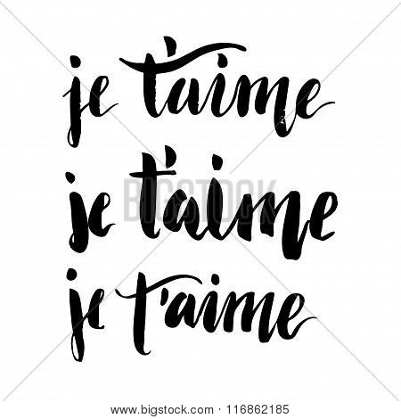 French I Love You Brush Lettering.