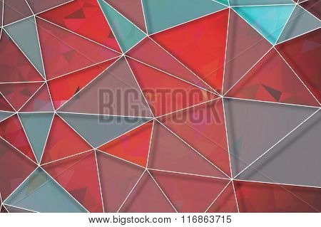Red Geometric Rumpled Triangular Low Poly Origami Style Gradient Illustration With White Net Graphic