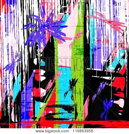 Psychedelic Graffiti Grunge Pattern Texture Vector Illustration