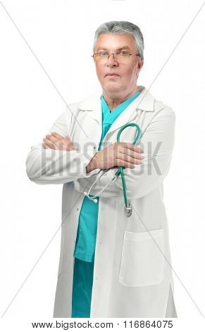 A handsome doctor with crossed arms, isolated on white