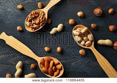 Spoons with hazelnuts, walnuts, pistachios, almonds, acorns and peanuts, on grey wooden background