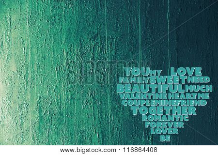 A heart made of words on wooden background