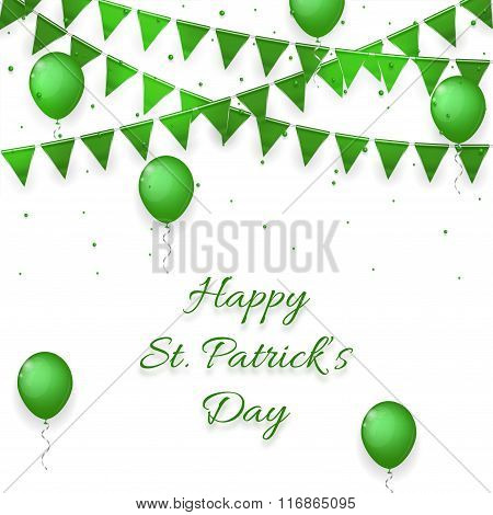 Saint Patrick's Day Background With Balloons And With A Garland