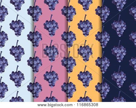 Bunch Of Grapes. Set Of Seamless Patterns. The Pattern For Wallpaper, Tiles, Fabrics, Backgrounds. V