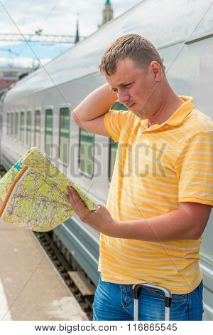 Pensive Man Looking For Where To Go On The Train